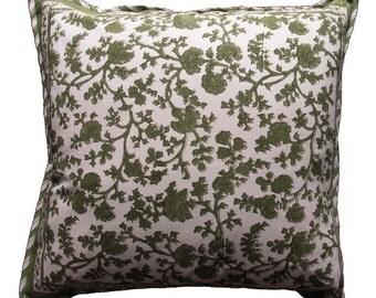 """Green Trellis cushion cover -18"""" x 18"""""""