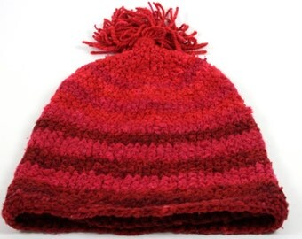 Authentic Vintage Peruvian Wool Knit Hat in Rich Red Handmade circa 1960s Size S