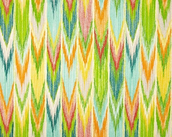 Two 20x20 Custom Pillow Covers -Indoor/Outdoor - Turquoise/ Red/Orange/Green Ikat Zig Zag