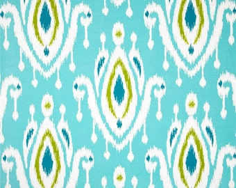 Two 20 x 20  Designer Decorative Pillow Covers for Indoor/Outdoor - Ikat Peacock Blue/Chartreuse/Teal