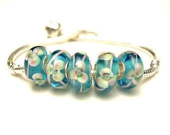 5 Orchid Blooms,  Lampwork European Large Hole Slide Charm Bracelet  Beads - Euro, Aqua Blue, Pale Green, Light Pink