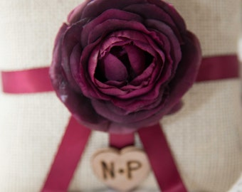 Shabby chic Burlap Ring bearer pillow featuring plum flower with Bride & Groom Initials over 60 flowers to select from