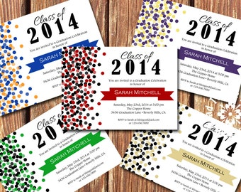 CUSTOM COLOR Graduation Party Invitations •Pick your two colors