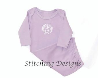 Lavender Monogrammed Baby Gown, Monogram Infant gown - Elastic Bottom - Girl   0-3 Mos