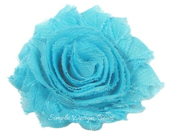 "Turquoise Hair Flower - Turquoise Flower Clip - 2 1/2"" Frayed Chiffon Flower - Shabby Chic Hair Flower - Hair Clip or Brooch - SOPHIE FLOWE"