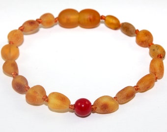 Raw NATURAL BALTIC AMBER Baby Teething Bracelet or Anklet