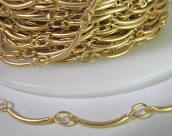 3 Ft Matte Gold Plated Scalloped Curve Bar Link Chain Ch216