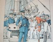 French Naval Prints x 5 c1900 Ship Boat Nautical Marin Marine