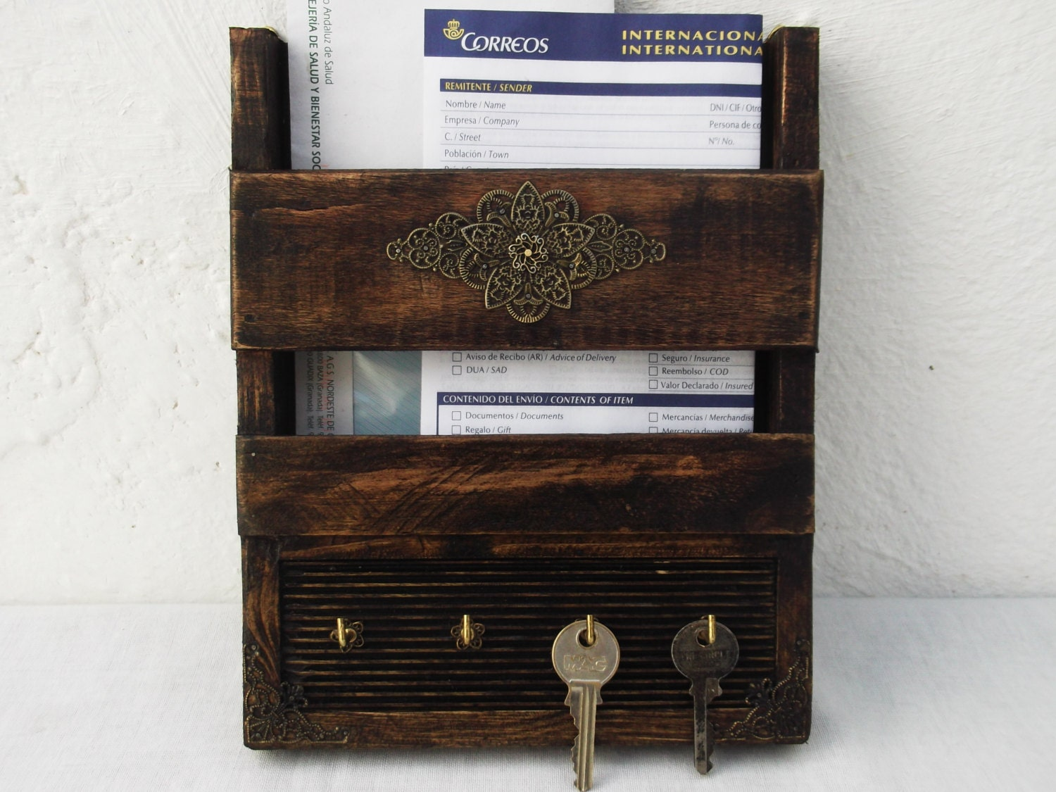 Rustic Decorative Mail Holder And Key Rack By