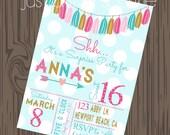 Tassel Garland Birthday Invitation, printable, DIY Birthday Girl Invite, You Print