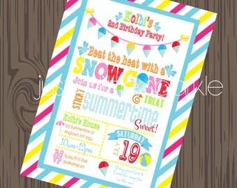 Snow Cone Invitation, DIY, Pool Party Invite, Summer invitation, Summer Birthday invite, Pool Party Invites