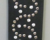 Black leather guitar strap, leather with nickel plated spots and crystal studs, studded leather guitar straps, genuine leather