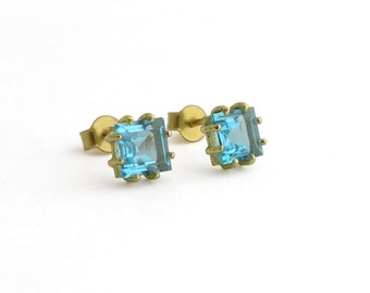 14k Gold Earrings - Blue Topaz Studs - Square Studs - Solid Gold Earrings