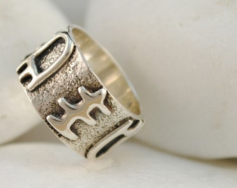 Cycladic Band Ring, Handmade, Solid Sterling Silver - FREE Shipping