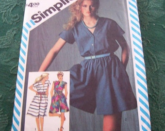 1980's Vintage Simplicity Pattern 6368 Misses Dress and Culotte Dresses in two lengths