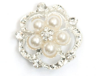 25pcs Wholesale Pearl and Rhinestone Flower Buttons, Button 705-S