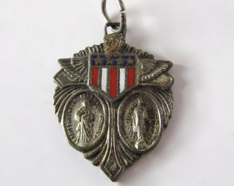 WW2 US Army Air Force Wings Religious Military Pendant Catholic Officer WWII Vtg