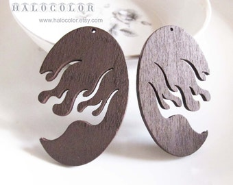 Painting Series  - 32x50mm Pretty Coffee Brown Fire Wooden Charm/Pendant MH232 02
