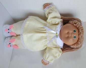 "16"" Girl Cabbage Patch Yellow and White Striped Pajamas"