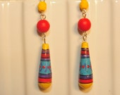 Handmade Vintage Painted Wooden Drop Earrings