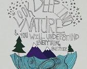 Einstein Nature : Art Print - Illustration Mountain Ocean Forest Wilderness Adventure Wanderlust Explore Quote Typography Science