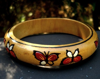 wood bangle bracelet, cuff,  vintage 1964 hand painted, butterflies
