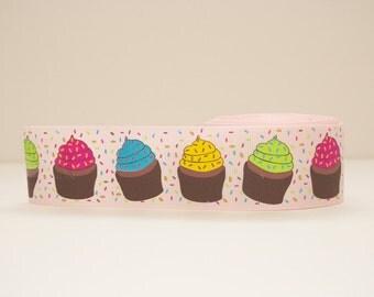 Cupcake Print Extra Wide 1.5 in Grosgrain Ribbon - 1 yd.
