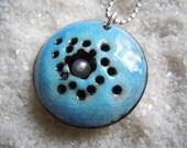 Blue Jewelry, Pearl Jewelry, Enamel Jewelry, Copper Enamel, Enamel Necklace, silver color chain