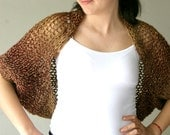 Chunky Knit Shrug in Beige, Brown and Burgundy - Bridal Bolero - Sweater -  Spring Fall Winter Fashion - Women Teens Accessories