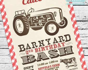 Vintage Barnyard Bash Invitation with Tractor PLUS Matching Thank You Note