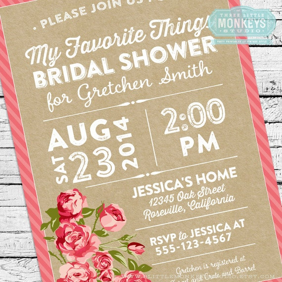 Things To Put On A Wedding Invitation: My Favorite Things Bridal Shower Invitation
