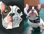 Custom Pet Portrait, Skull Painting, Gothic Decor, Dog Art, Cat Artwork, Acrylics on 8x10 Canvas, Original Art