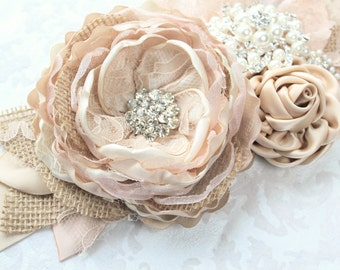 "Champagne Beige Blush Burlap Wedding Ribbon Sash ""Vanessa""/ Bridal Sash/ Handmade Accessory"