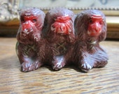 Three Wise Monkeys .. small collectible statue / ornament. Made in Japan. Father's Day