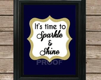 Sparkle & Shine-- Girl Printable--Nursery Printable--Glitter--Instant Download