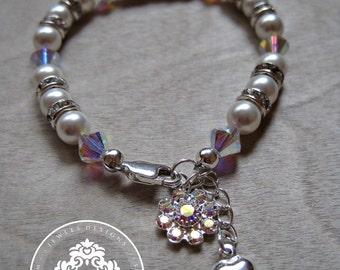 Girls Swarovski bracelet/ Girls/ Girls Accessories/ baby girl/ Jewellery/ Swarovski Crystals/ flower girl Jewelry  by JewlesDesigns on Etsy