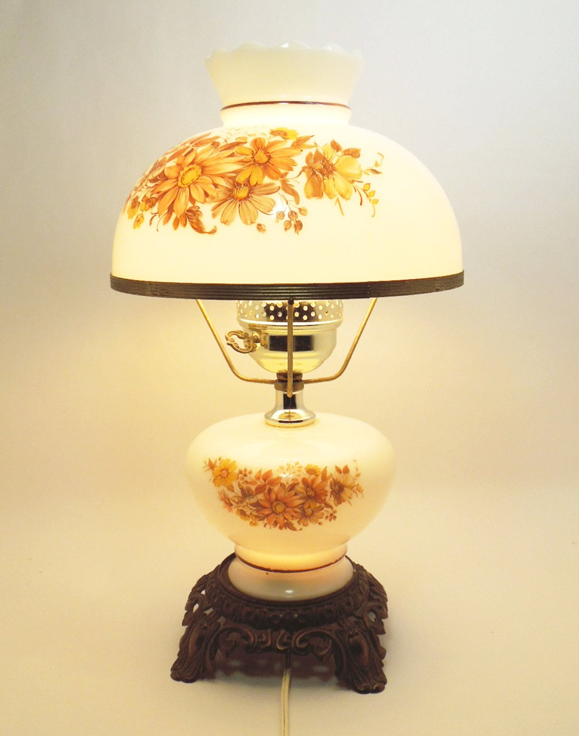 Vintage hurricane lamp and night light with hand-painted