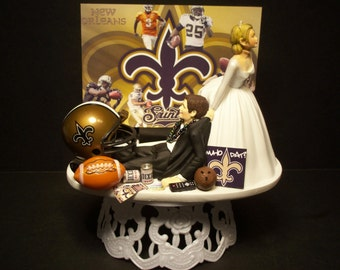 New Orlean Saints Football Wedding Cake Topper Bride and Groom sports Funny