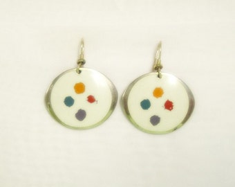 Laurel Burch PALETTE Earrings in Cream Off White Color - Retired Design and Discontinued Jewelry Line - Vintage