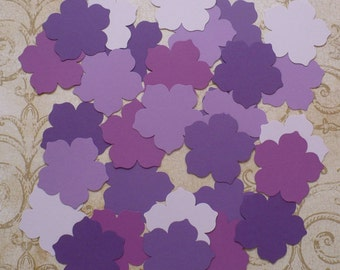 30 Petunia / Flower / Bloom Punchies / Shapes made from Purple colors Cardstock for cards crafts