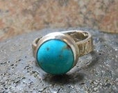 Blue Turquoise Eco Friendly Recycled 925 Silver Dinner Ring-Rustic Jewelry - Rustic Ring-Bezel Stone Ring