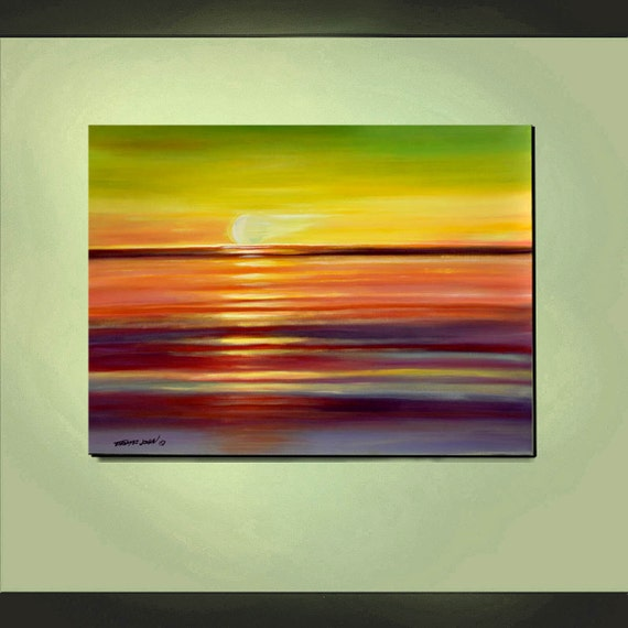 ORIGINAL PAINTING Large Seascape Sunset 30x40 Ready To Hang Art By Thomas John.