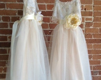 Ivory Flower Girl Tutu Dress with Lace Collar, Junior Bridesmaids Dress, Dress for Teens and Tweens, Flower Girl Cream Tutu