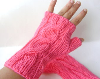 Fingerless Gloves Hand Knit Flamingo Pink Gloves Cable Knit