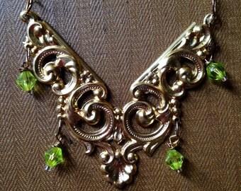 Gold filigree statement necklace