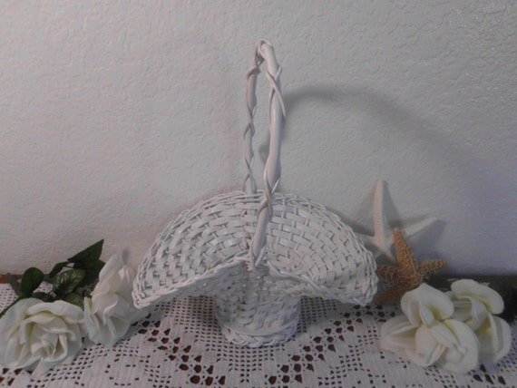 Wedding Flower Girl Basket White Shabby Chic Wicker Rustic Centerpiece Up Cycle Vintage Spring Summer Baby Shower Decoration Gift for Her