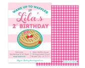 Waffles Birthday Invitation (Pancakes and Pajamas, Breakfast Party, Brunch Invitation, Slumber Party, Pajama Party)