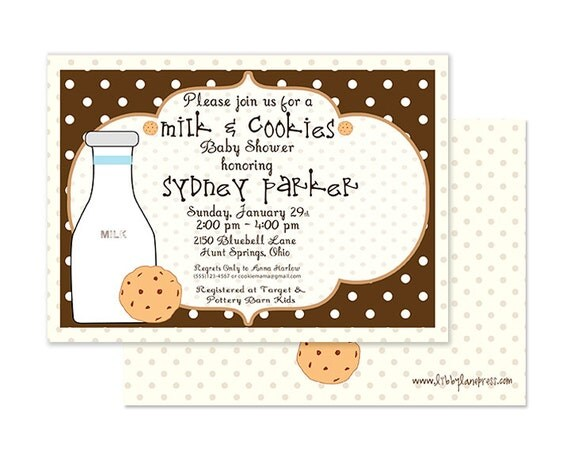 Milk and Cookies Baby Shower Invitation, Custom and printable