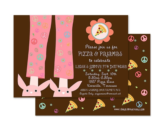 PIZZA & PAJAMAS Birthday Invitation, PRINTABLE by Libby Lane Press