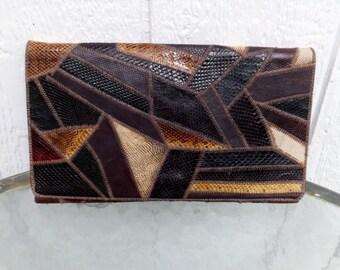 Vintage 70s snake skin  clutch , patchwork  calico colors